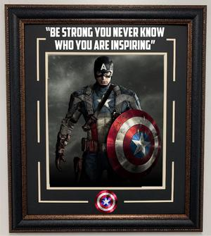Captain America 11x14 Framed Photo with Quote, Deluxe Frame