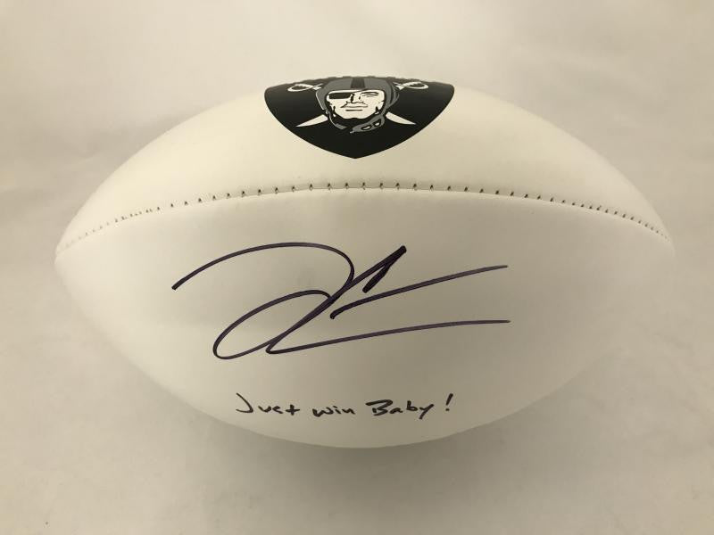 Derek Carr Signed White Panel Football with Inscription