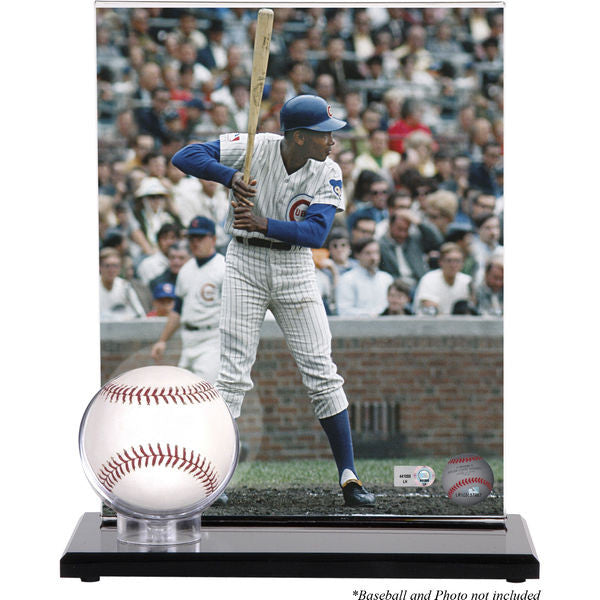 Acrylic Single Baseball Display Case with Photograph Holder