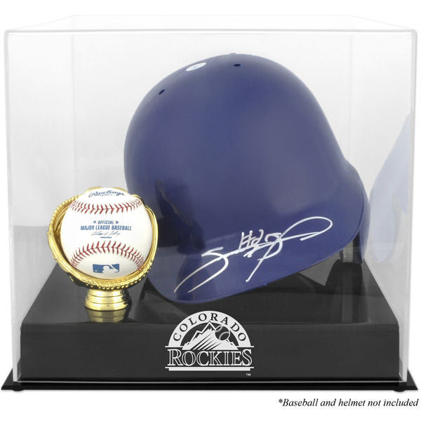 Colorado Rockies Batting Helmet with Ball Holder Logo Display Case