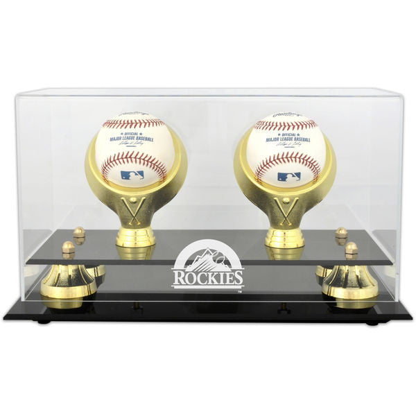 Colorado Rockies Golden Classic Two Baseball Logo Display Case - Latitude Sports Marketing