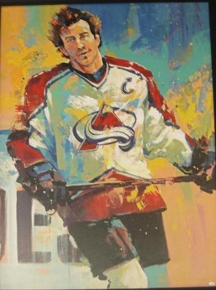 Joe Sakic Signed 32X42 Canvas Giclee Signed By Artist Malcolm Farley Unframed