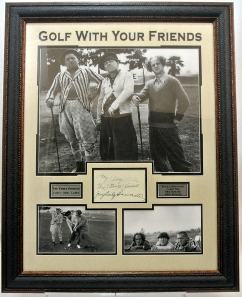 Three Stooges Black and White Photo Framed w/ Laser Signatures - Latitude Sports Marketing