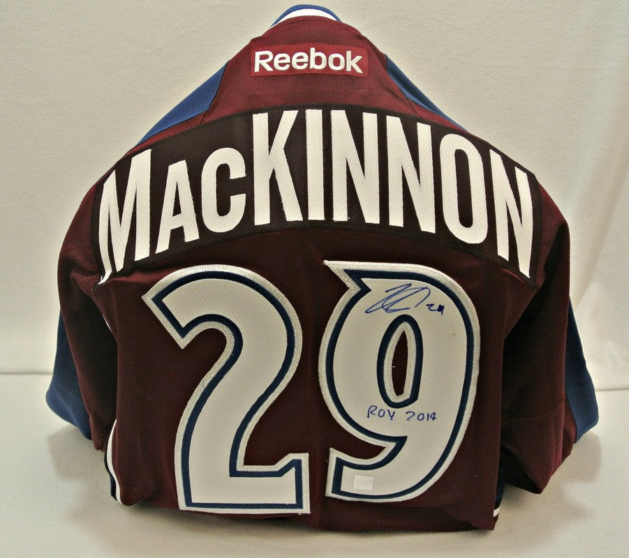 Nathan MacKinnon autographed Avs jersey with ROY Inscription