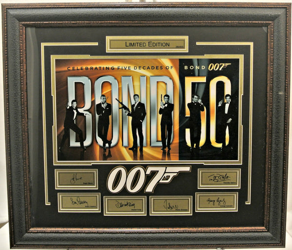 James Bond 50 year limited edition collage with laser signatures - Latitude Sports Marketing