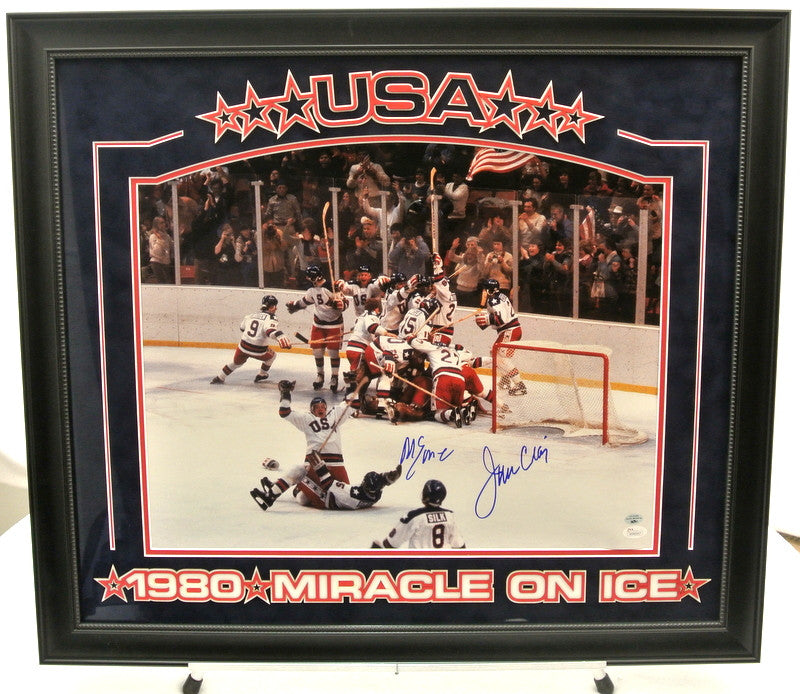 Miracle on Ice - Jim Craig and Mike Eruzione Signatures - 16x20 Framed