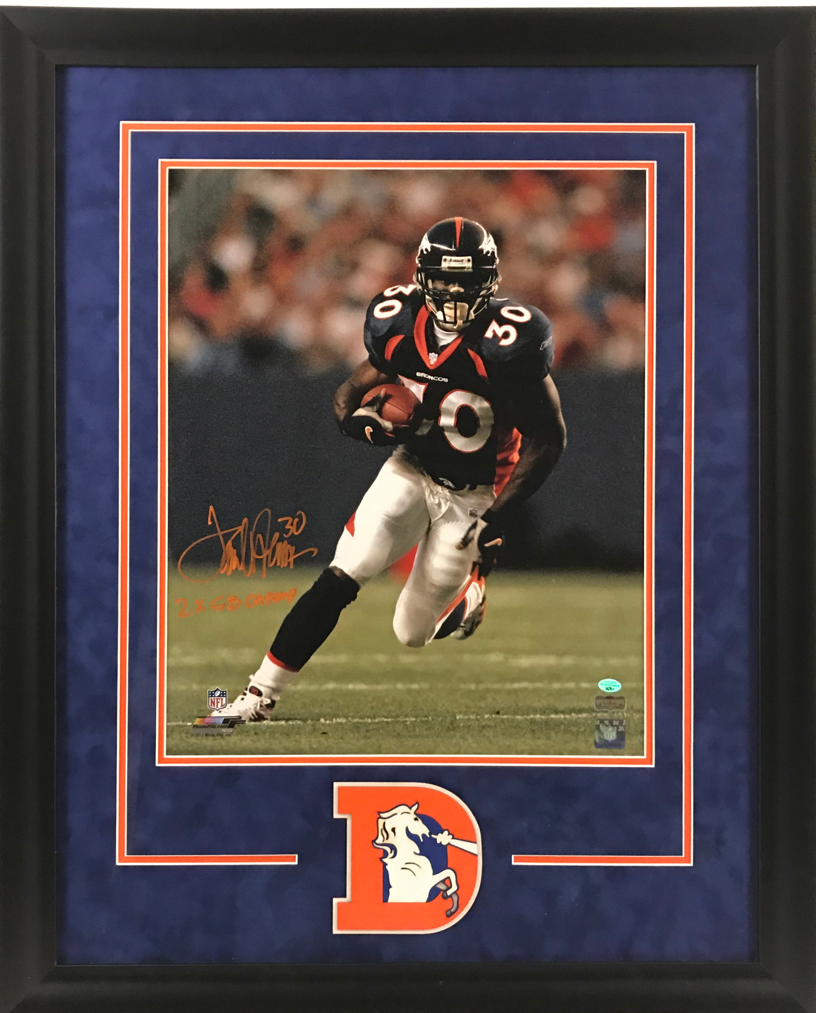 Terrell Davis Signed 16x20 Photo with Inscription - Deluxe Framing