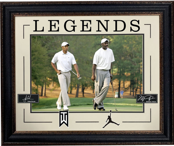 "Michael Jordan and Tiger Woods Framed LEGENDS 16""x20"" Photo with Laser Signatures"