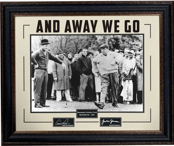 "Arnold Palmer & Jackie Gleason 16""x20"" Photo Framed ""Away We Go"" with Laser Signatures"