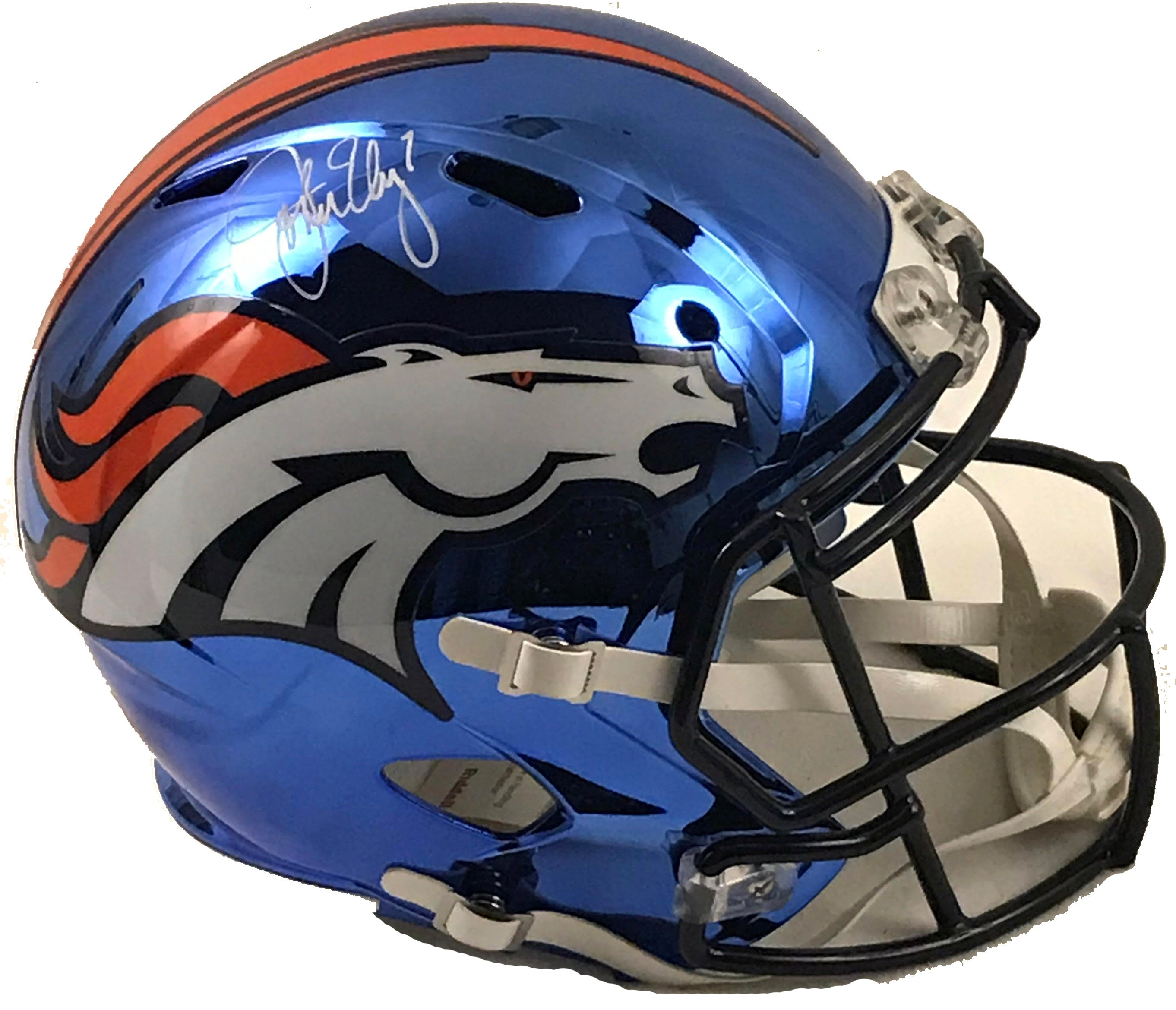 John Elway Signed Denver Broncos Chrome Helmet