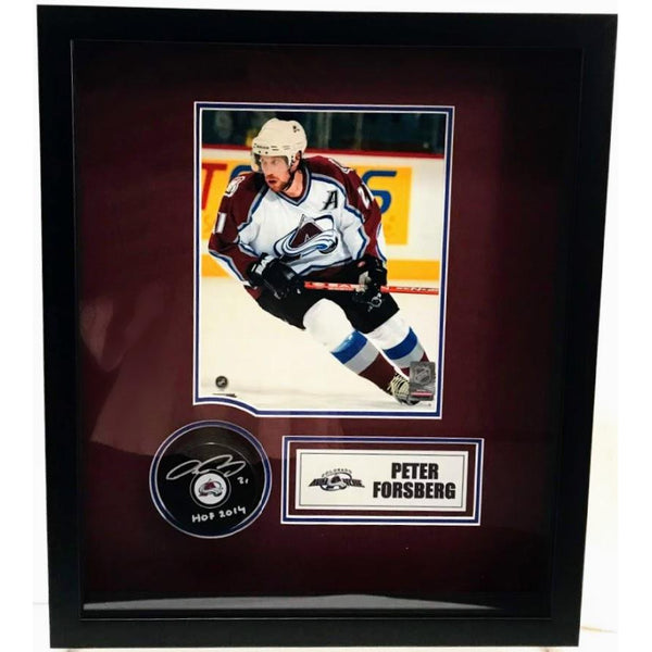 Peter Forsberg Autographed Colorado Avalanche Puck w/ Nameplate, Photo & Shadowbox LSM COA