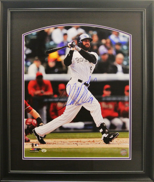 Deluxe Framed Charlie Blackmon 16x20 Signed Photo (White Uniform)