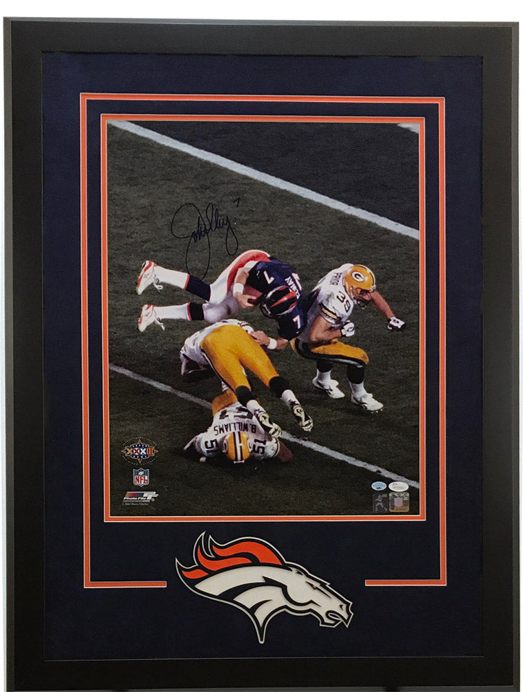 John Elway Signed Helicopter 16x20  Deluxe Framed