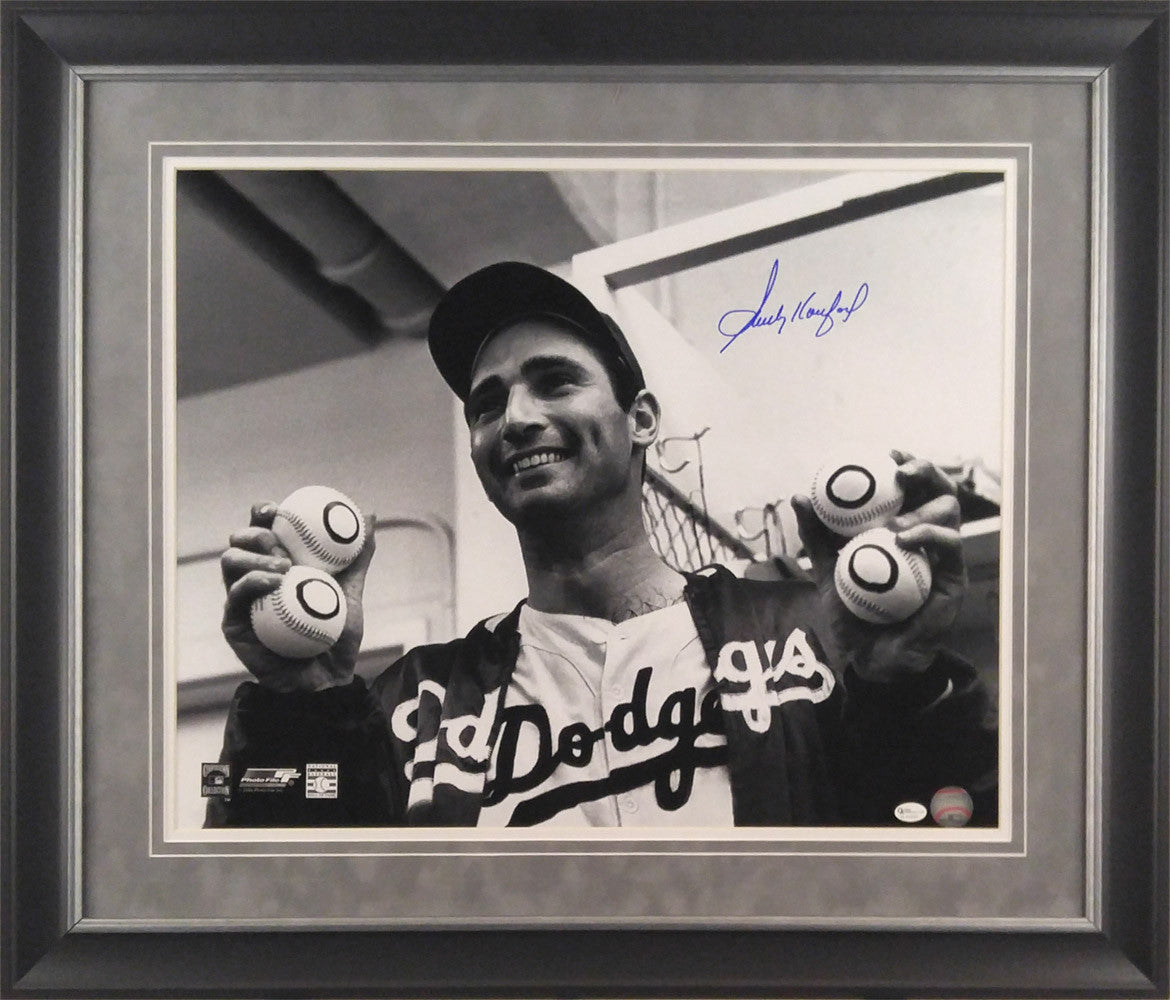 Sandy Koufax Autographed Holding Up Baseballs Framed 16x20 Photo