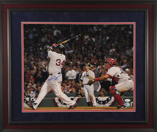 David Ortiz Autographed Framed 16x20 Photo - Swing vs Angels