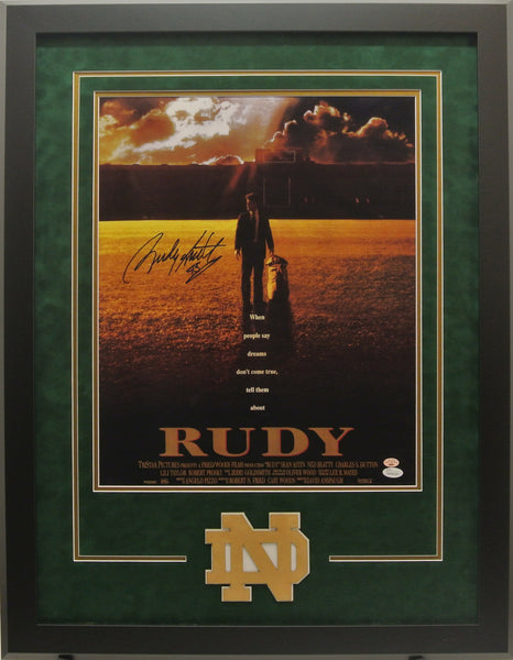 "Signed 11x17 ""Rudy"" Movie Poster with Deluxe Frame"