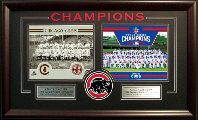 Chicago Cubs Framed Old/New World Series Team Photos