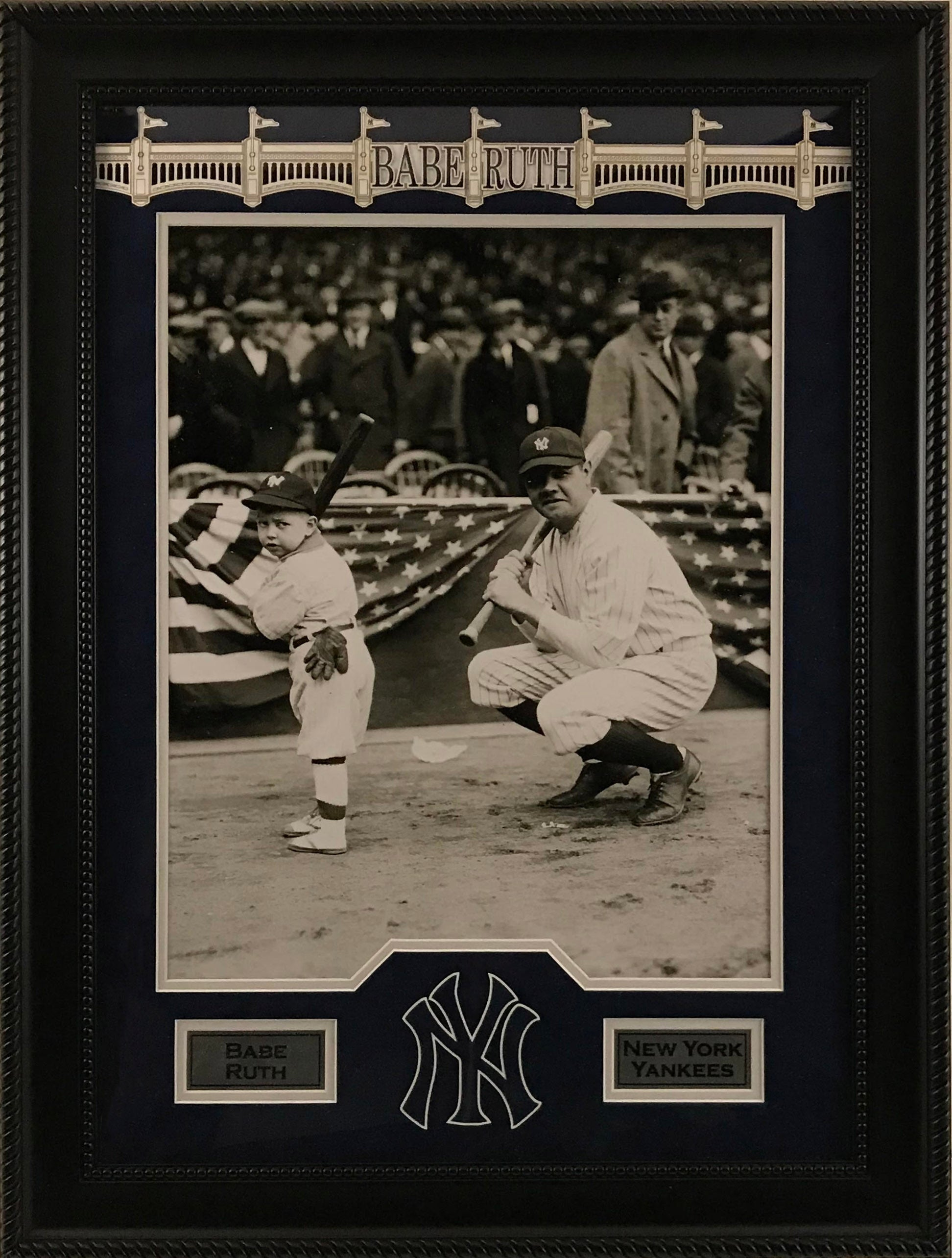 Babe Ruth and Kid with Bats Framed 16x20 Photo