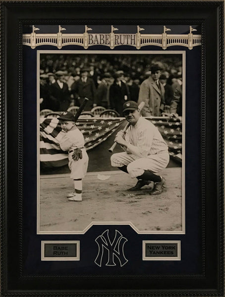 Babe Ruth and Kid with Bats Framed 16x20 Photo and Laser Signature