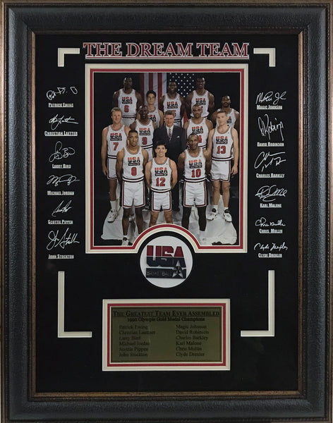 1992 Dream Team Framed Photo with Laser Signatures - Latitude Sports Marketing