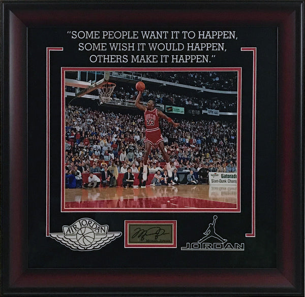 Michael Jordan Framed Photo w/ Laser Signature and Quote
