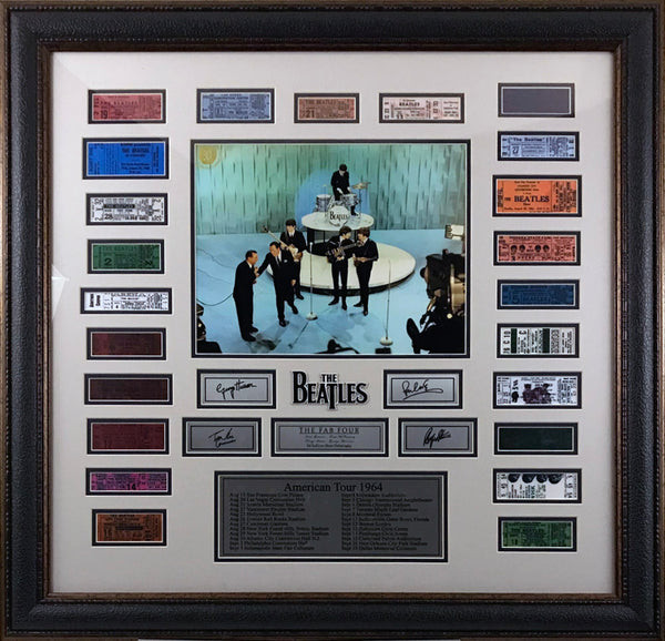 Beatles Framed 1964 Replica Ticket Collage with Laser Signatures - Latitude Sports Marketing
