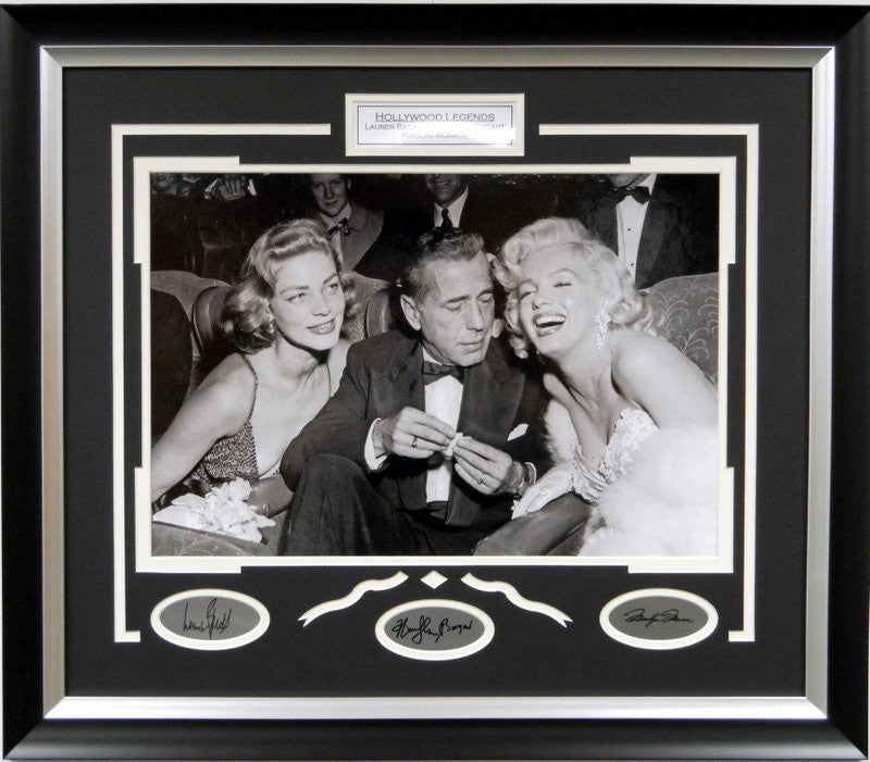 Hollywood Legends Bacall, Bogart, Monroe 16x20 Photo Framed with laser signatures - Latitude Sports Marketing