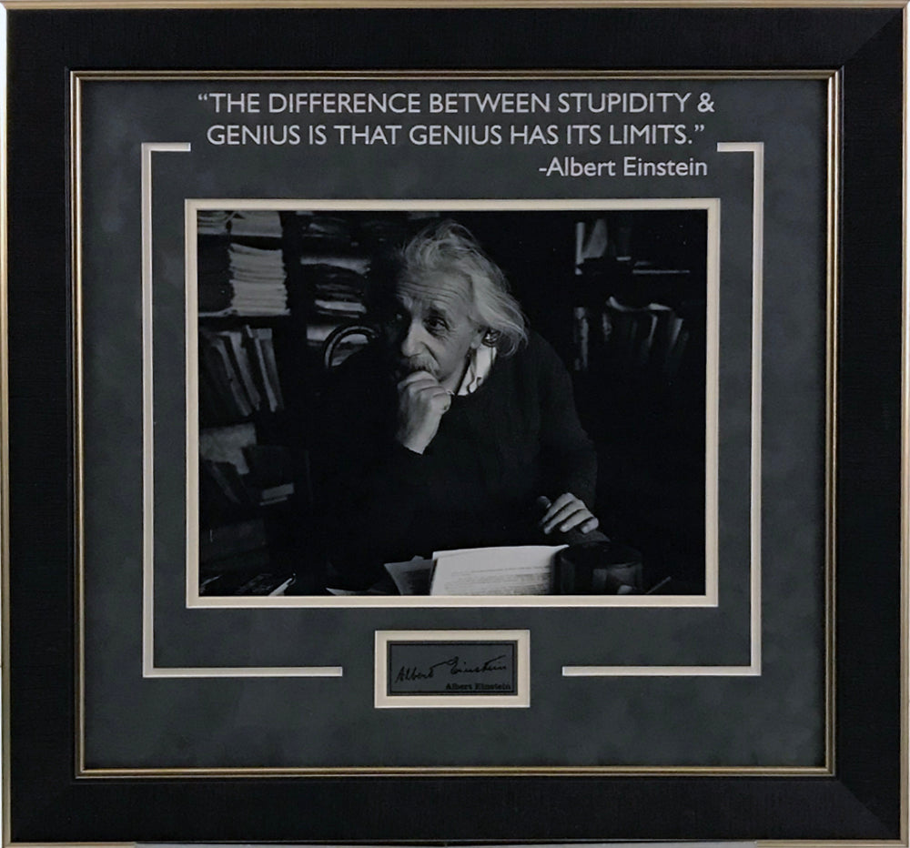 Albert Einstein Framed Photo w/ Laser Signature - Latitude Sports Marketing