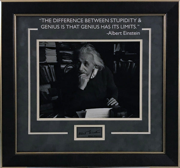 Albert Einstein Framed Photo w/ Laser Signature