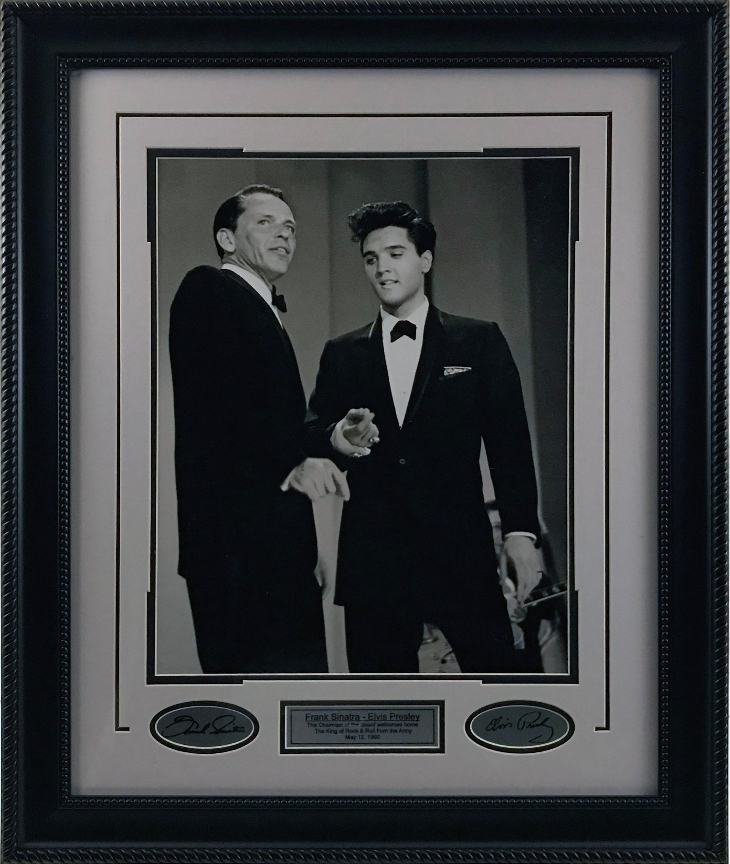 Elvis & Sinatra Framed 16x20 Photo w/ Laser Signatures - Latitude Sports Marketing