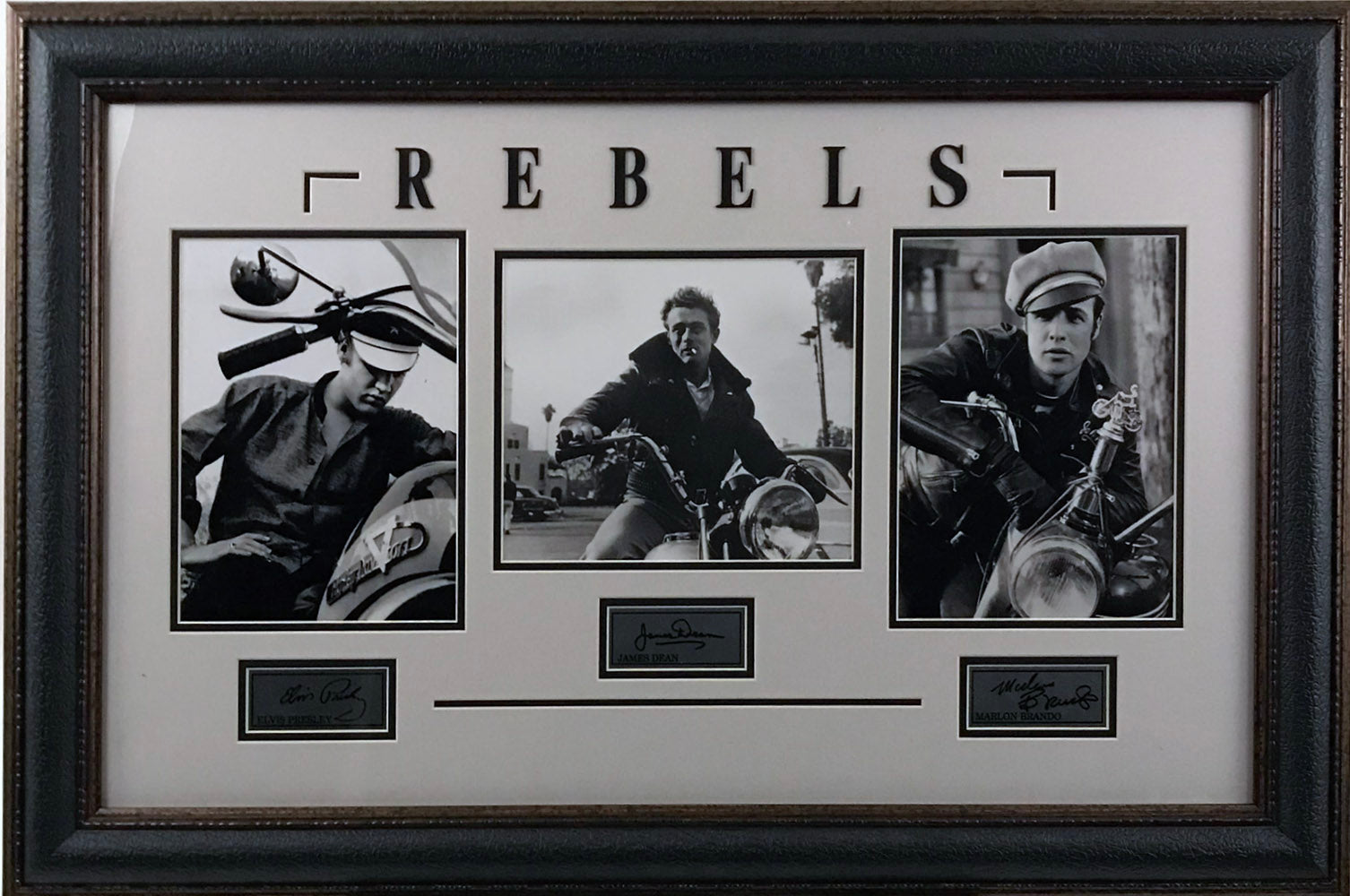 Hollywood Rebels Framed Collage ft. Elvis, James Dean, Marlo Brando