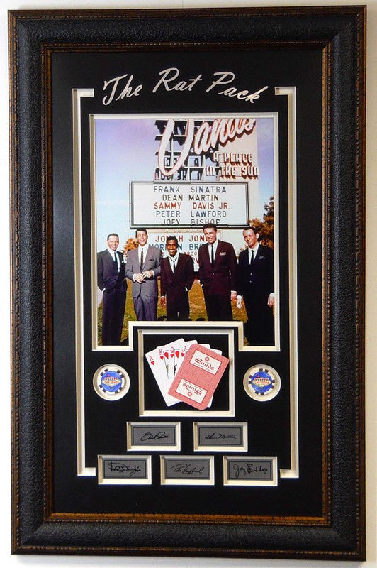 Hollywood Rat Pack Photo at the Sands Hotel with Playing Cards and Laser Signatures - Latitude Sports Marketing