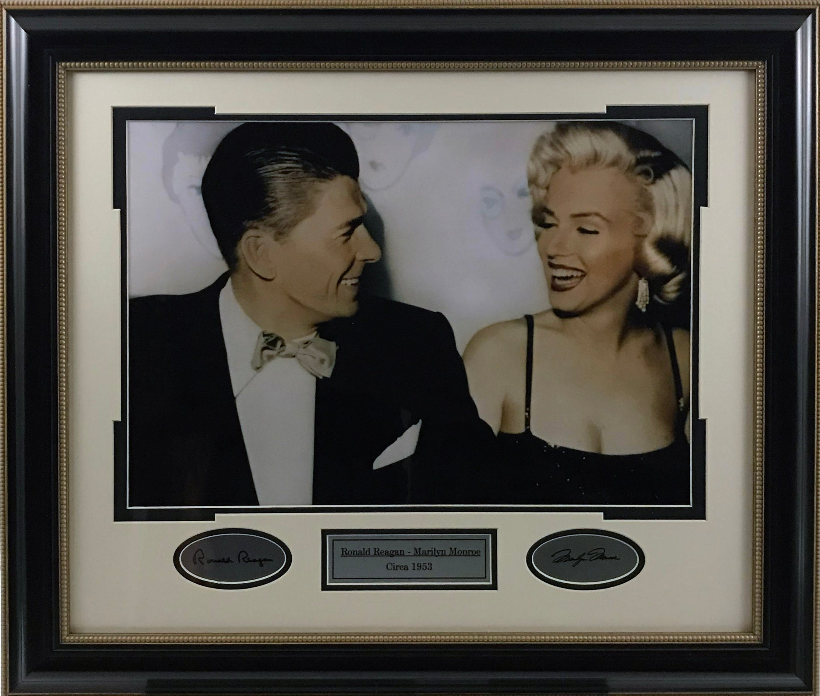 Ronald Reagan & Marilyn Monroe Vintage Framed Photo with Laser Signatures - Latitude Sports Marketing