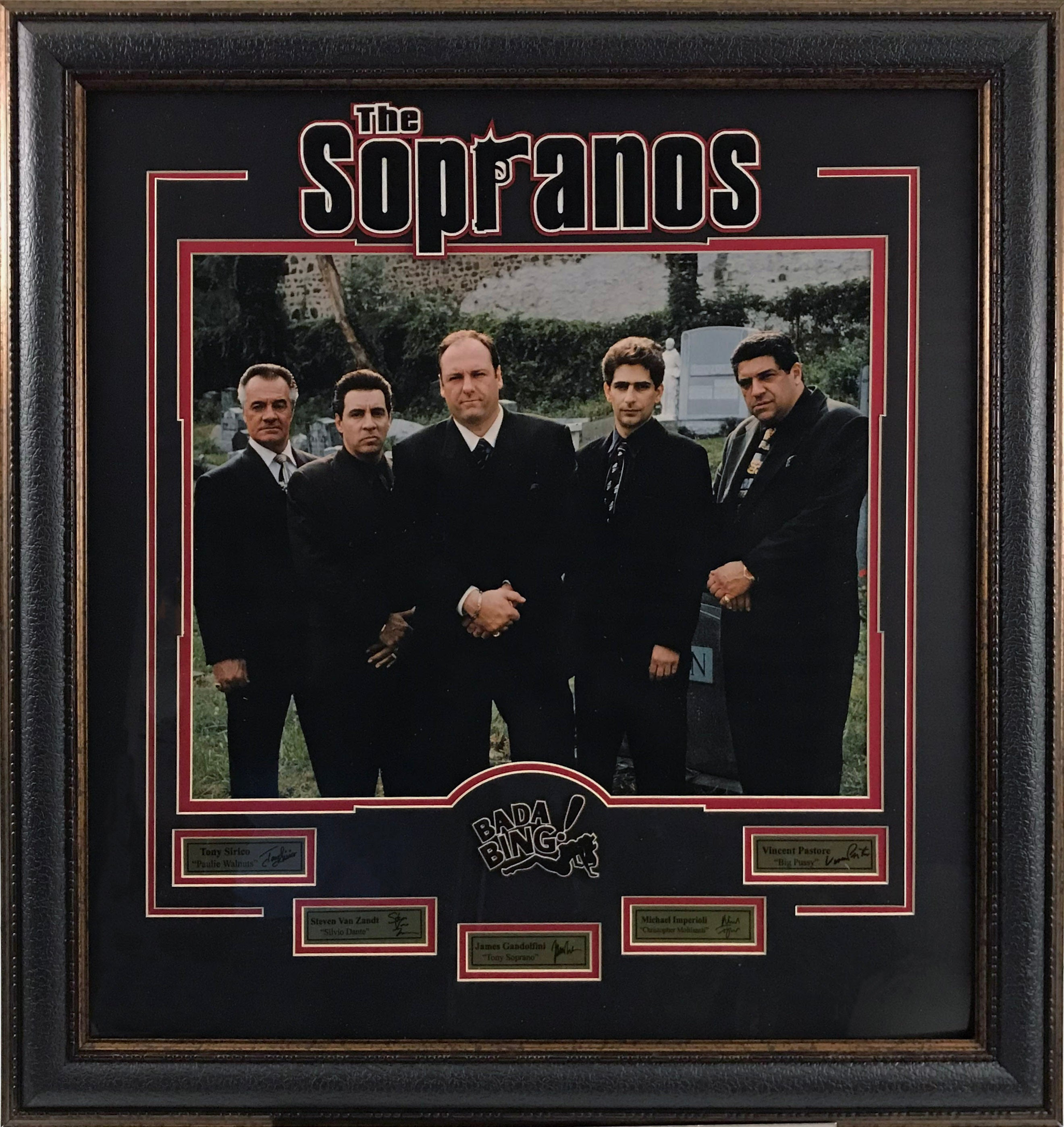 Sopranos Graveyard Photo with Laser Signatures - Latitude Sports Marketing
