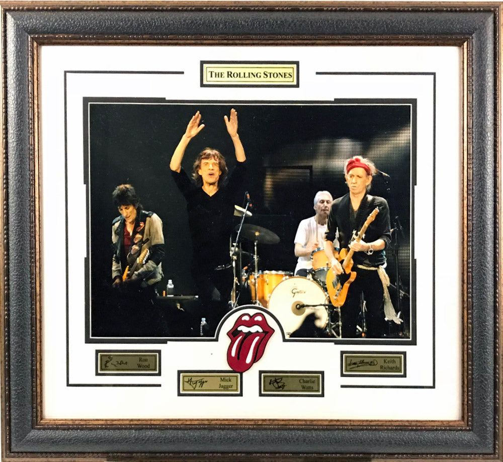 Rolling Stones Framed Photo w/ Logo and Laser Signatures - Latitude Sports Marketing