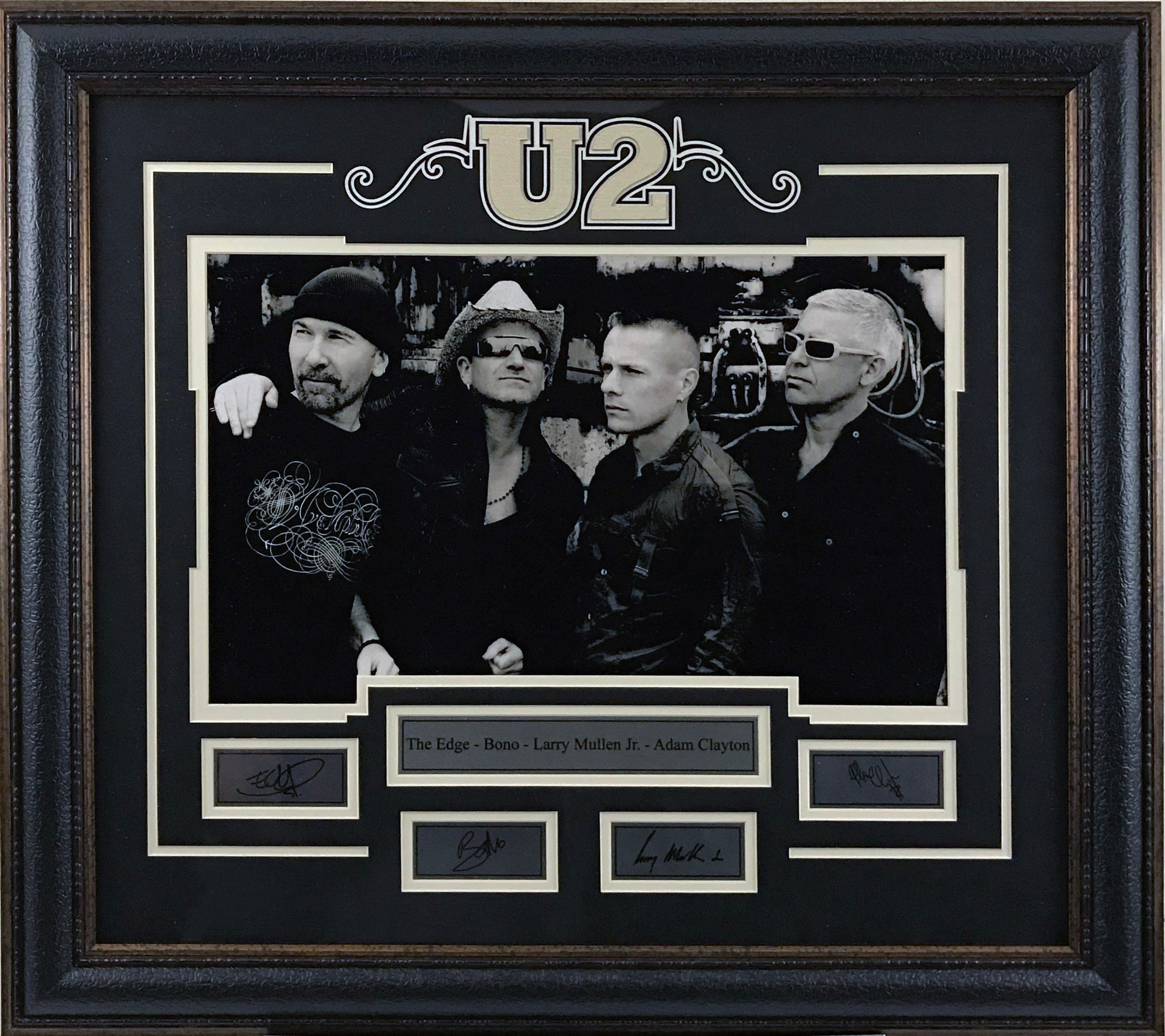 U2 Deluxe Framed 16x20 Photo with Laser Signatures.