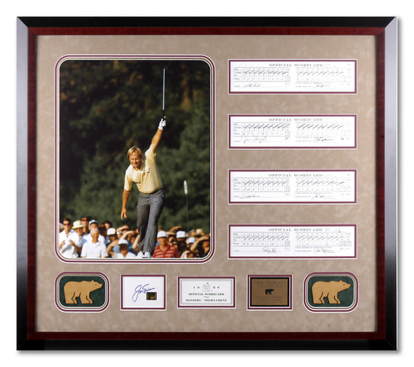 Jack Nicklaus 1986 Framed Master Champion with signed scorecard