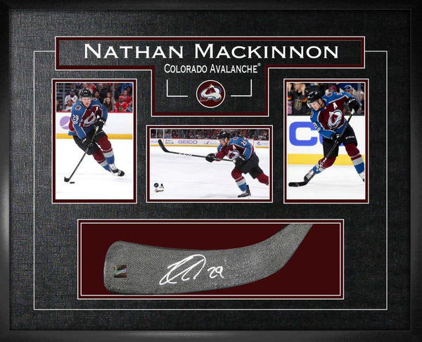 Nathan MacKinnon Signed Stick Blade with Shadowbox Frame and Photos - Latitude Sports Marketing