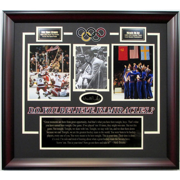 Miracle on Ice Collage with Laser Signature Herb Brooks Speech