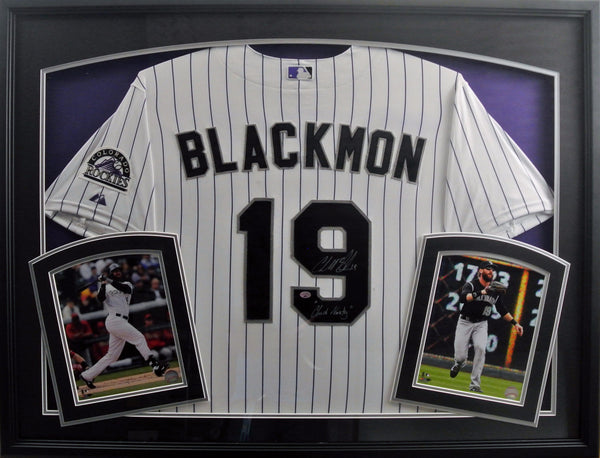 Deluxe Framed Charlie Blackmon Signed & Inscribed Authentic Pinstripe Jersey