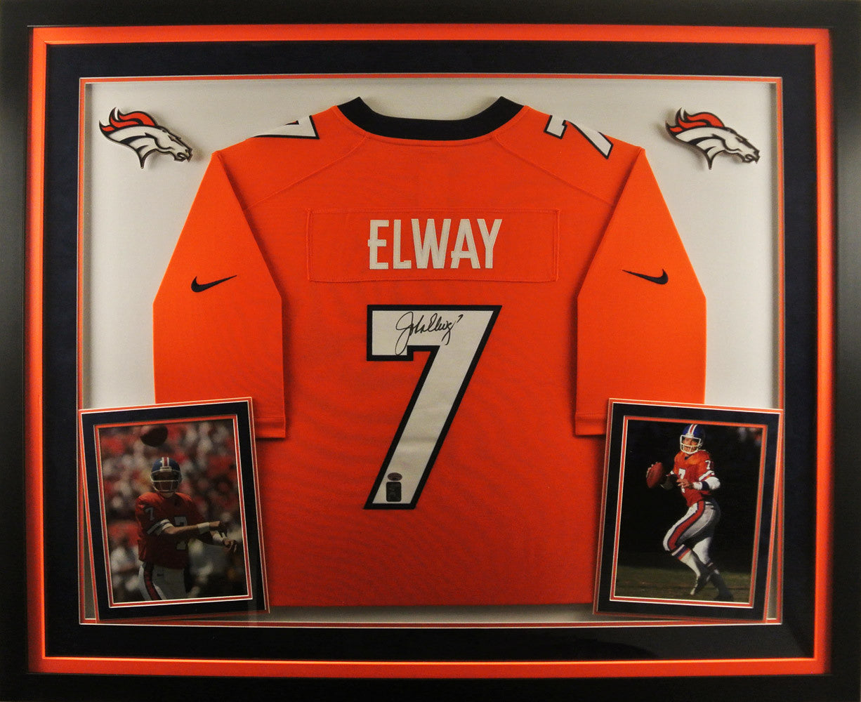 John Elway Deluxe Framed Signed Orange Jersey