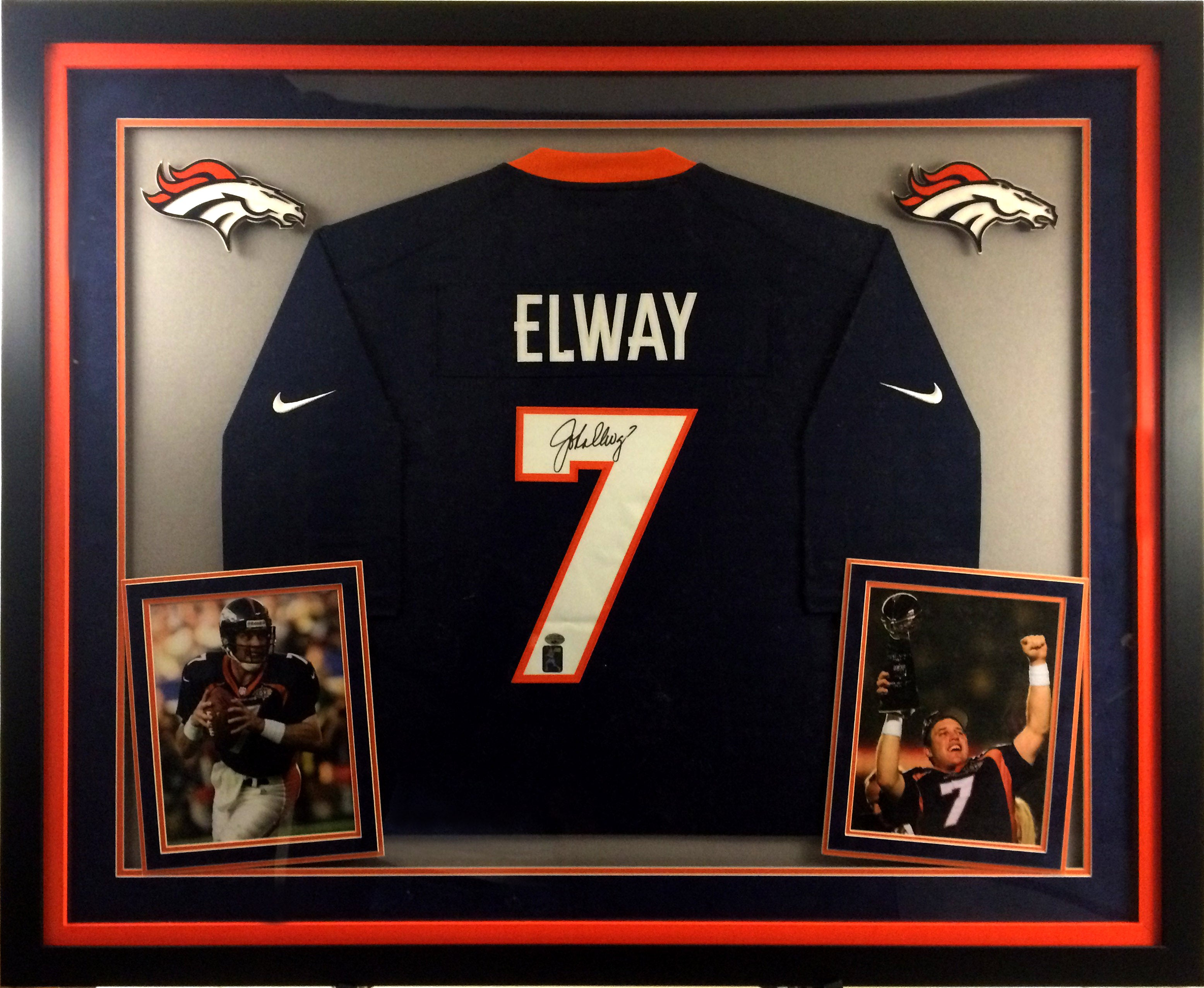 reputable site f94cb 932cf John Elway Autographed Deluxe Mitchell and Ness Blue Jersey