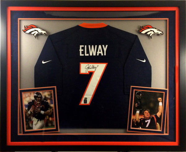 John Elway Autographed Deluxe Mitchell and Ness Blue Jersey - Latitude Sports Marketing
