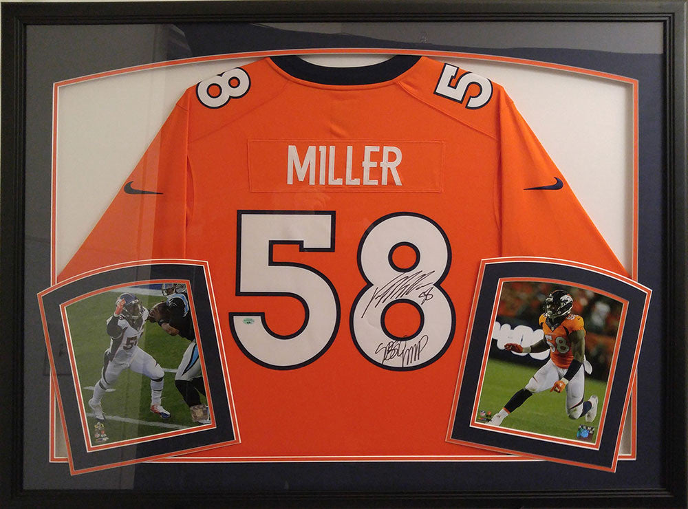 Von Miller Signed and Framed Broncos Orange Jersey with SB50 MVP Inscription