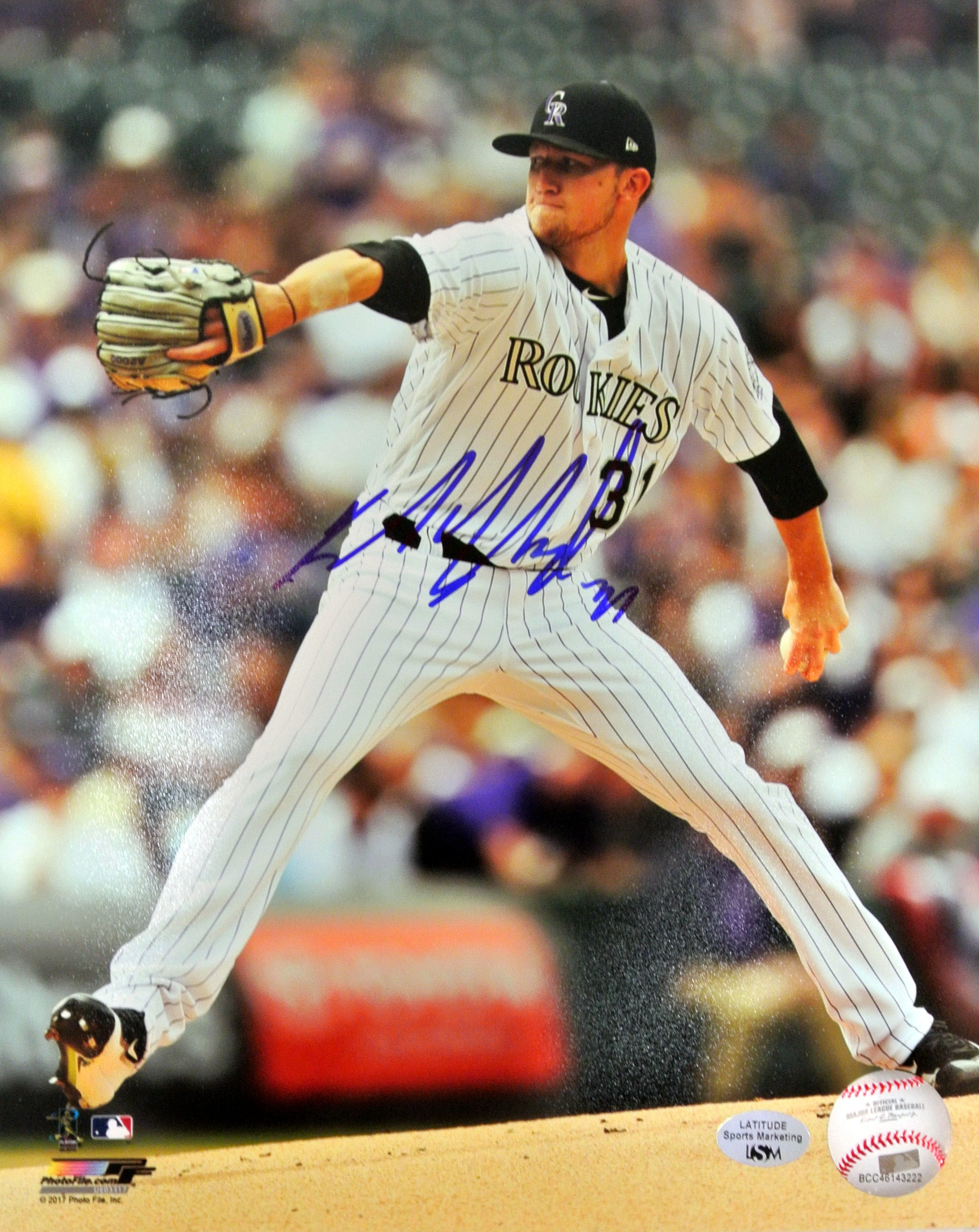 Kyle Freeland Signed 8x10 Action Photo (White Uniform) (Blowout)