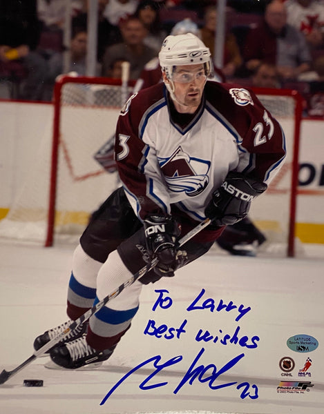 "Milan Hejduk Signed 8x10 Photo Personalized ""To Larry Best Wishes"" - Latitude Sports Marketing"