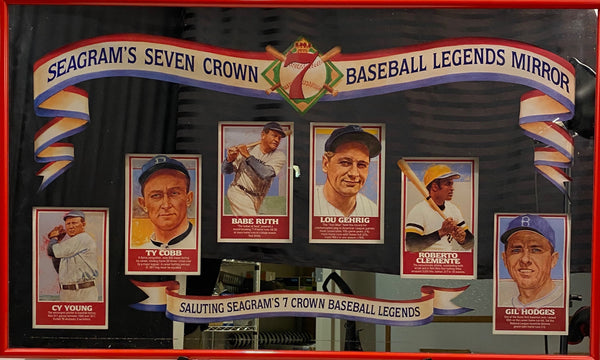 Baseball Legend's (Seagram's Seven Crown) Mirror w/ Cy Young, Ty Cobb, Babe Ruth, Lou Gehrig, Roberto Clemente, and Gil Hodges 8x5 Photos w/ 40x24 Frame (PICK UP ONLY) - Latitude Sports Marketing