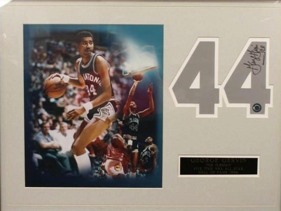 George Gervin Hand Signed Number With 8x10 Photo Matte (Blowout)