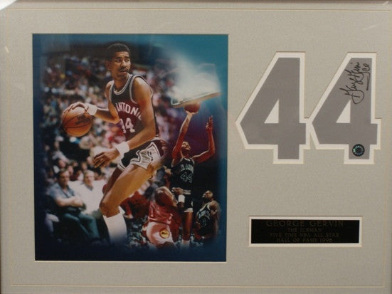 George Gervin Hand Signed Number With 8x10 Photo Matte
