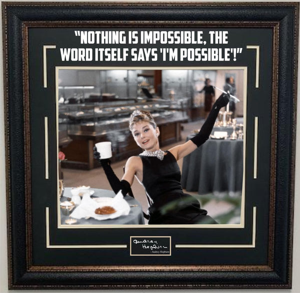 "Audrey Hepburn ""Nothing Is Impossible"" Framed Photo with Laser Signature & Quote"